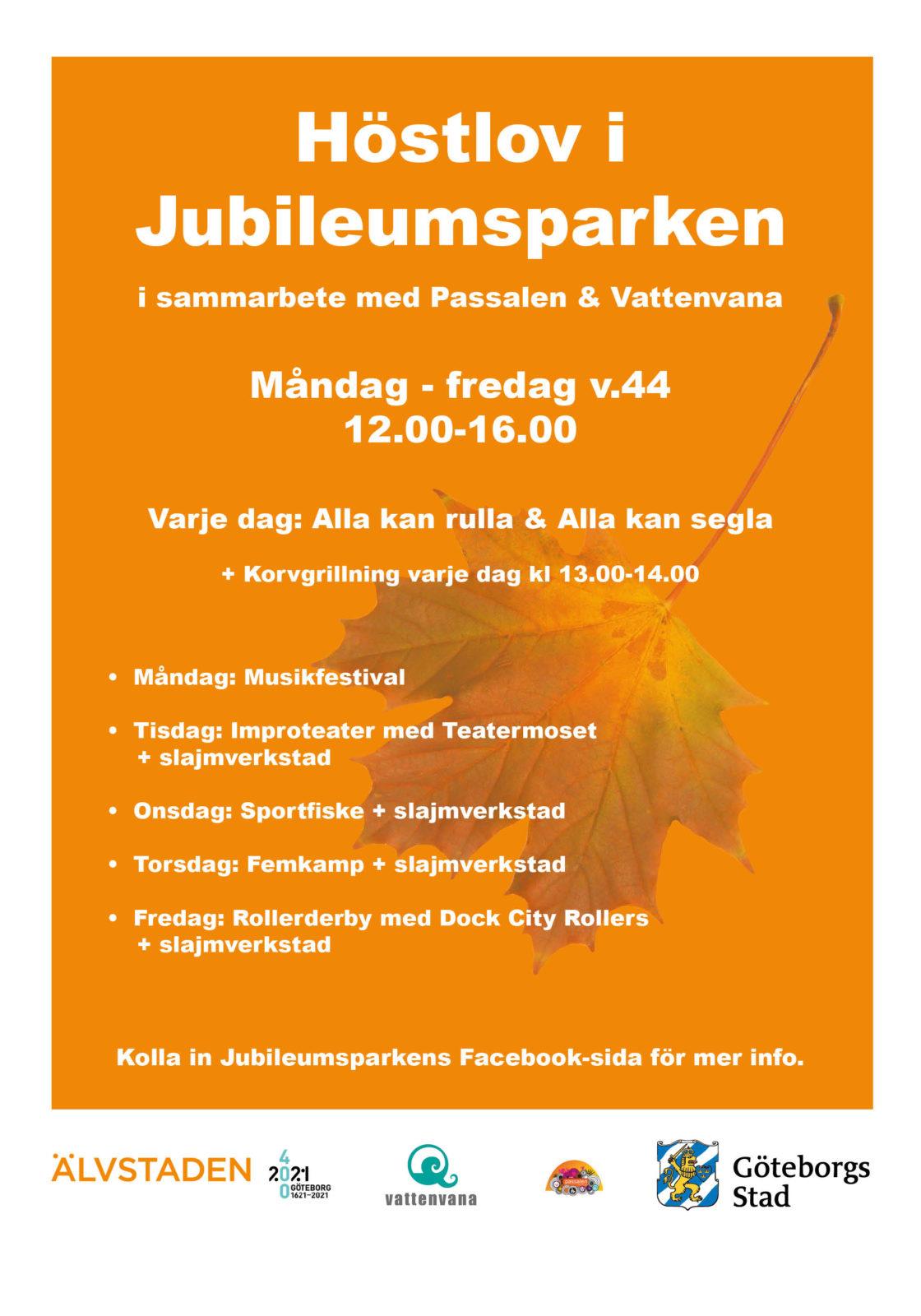 Höstlov affisch Jubileumsparken 2018